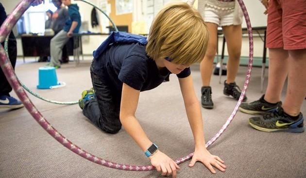 Kids and hula hoops